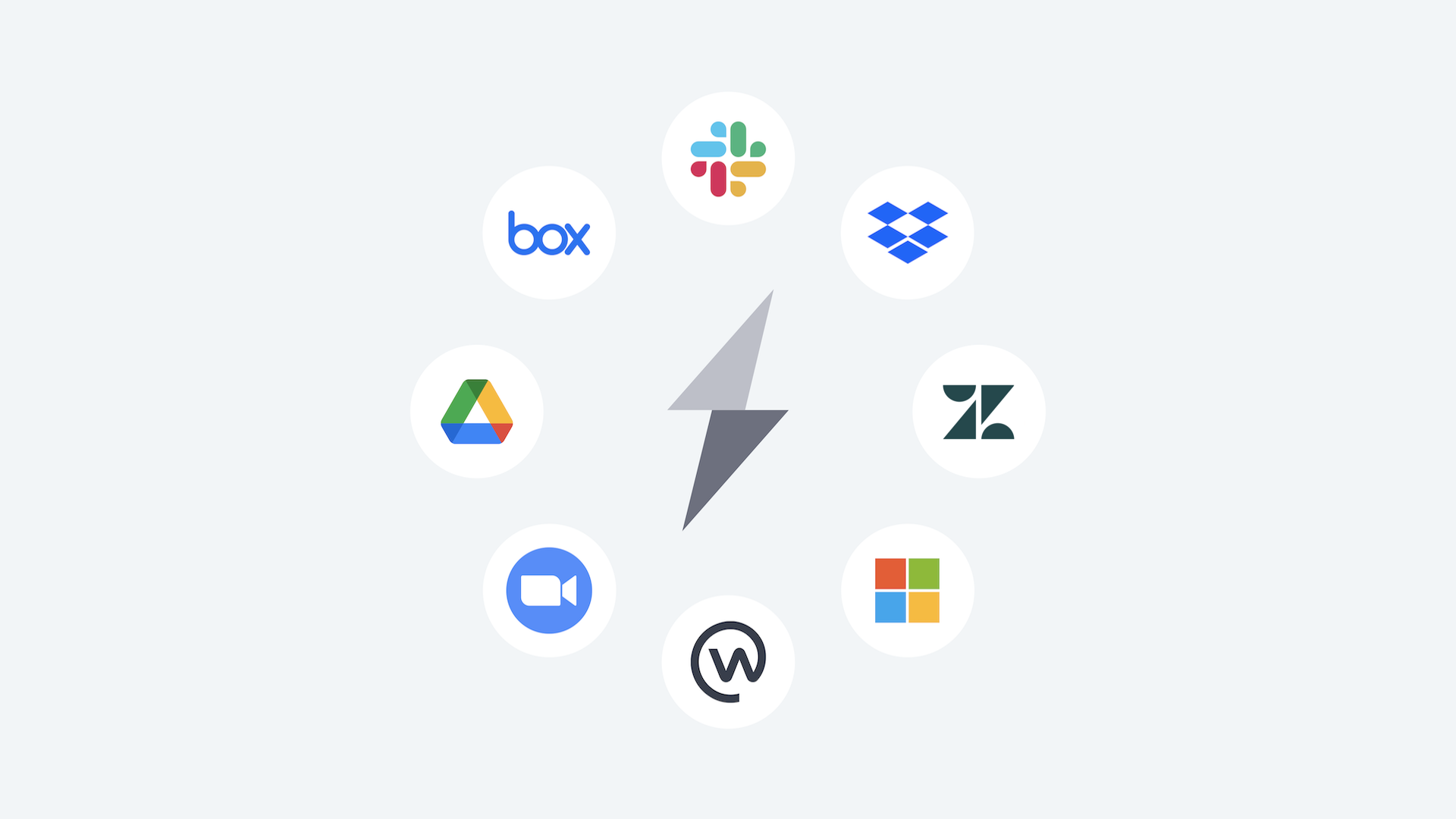 Multiple cloud-based applications around a lightning bolt